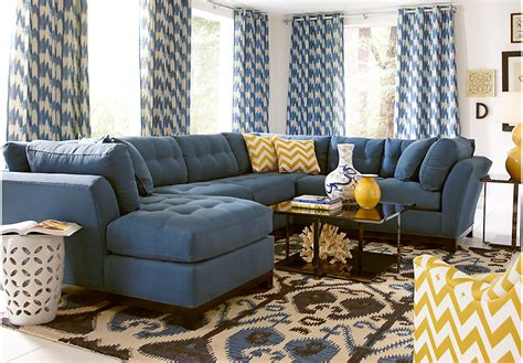 Metropolis 3pc Sectional Sofa by Home Metropolis Indigo 4 Pc Sectional