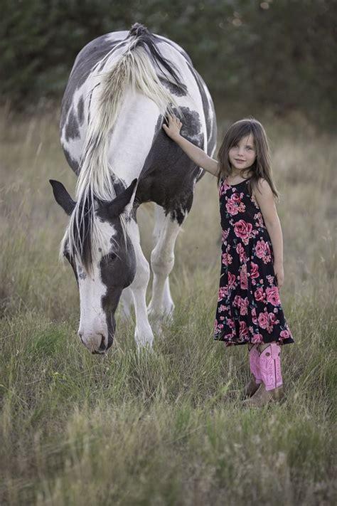 photo child horse animal girl fun  image