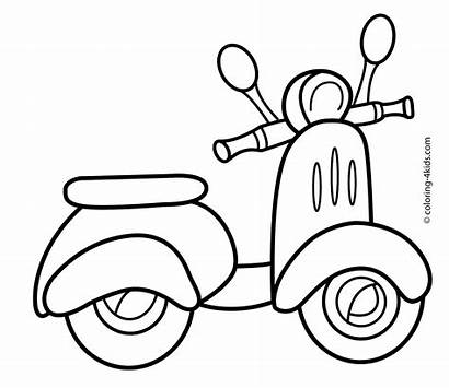 Coloring Scooter Transportation Pages Printable Easy Drawings