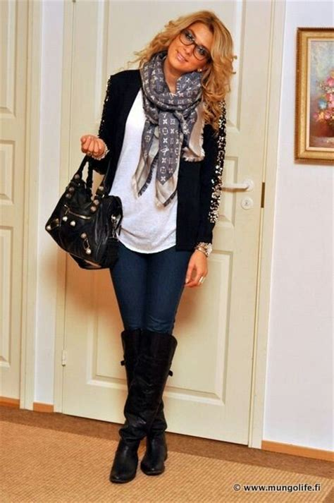 Fall Outfit. Black Boots Jeans Black Jacket and Cute Scarf. | lookbook | Pinterest | Shopping ...