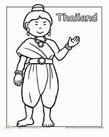 Coloring Thailand Pages Traditional Clothing Thai Education Worksheet Worksheets Cultures Around Colouring Sheets Dance Clothes Different Printable Sheet Paper Many sketch template