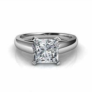 Cathedral princess cut diamond engagement ring for Princess cut solitaire engagement ring with wedding band
