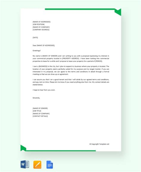 lease proposal templates  sample