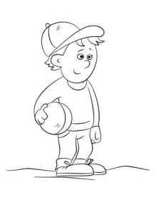 Cute Boy Holding a Ball coloring page Free Printable