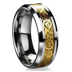 mens tungsten wedding rings gold norse knotwork viking ring