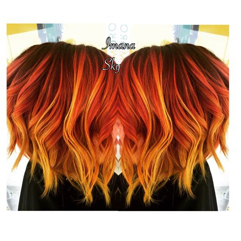Purple Roots To Red Orange And Neon Yellow Flame Sunset