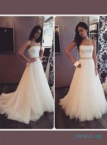h1417 simple a line tulle strapless wedding dress with belt With plain a line wedding dress