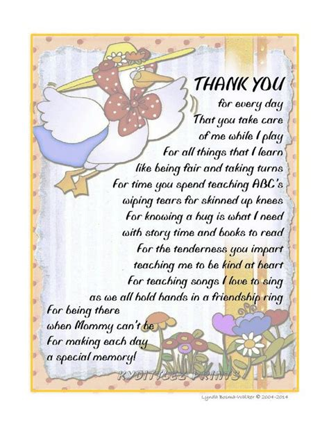 poem for preschool teacher wall child s thank you poem gift to their daycare 969
