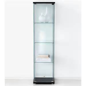 ikea detolf glass curio display cabinet black lockable