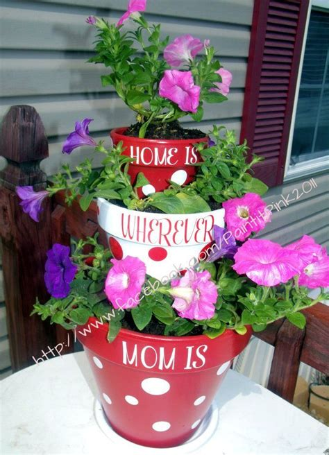 tiered flower pots cute  mothers day