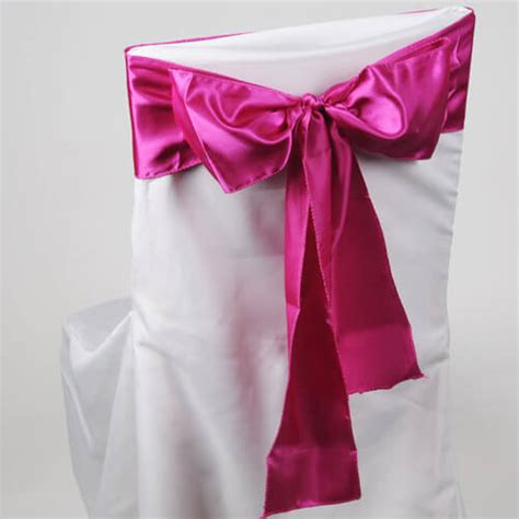 fuchsia pink satin chair sashes pack of 10
