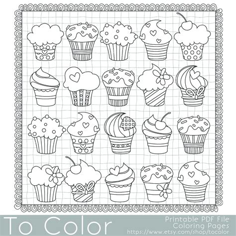 cupcakes coloring page  adults  jpg instant
