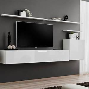 Meuble Design Tv Mural : meuble tv mural design switch i 330cm blanc ~ Teatrodelosmanantiales.com Idées de Décoration