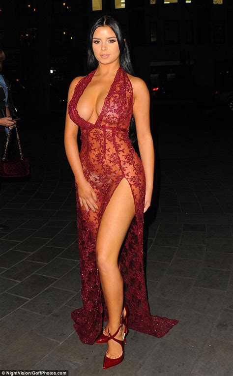demi rose shows   figure   shear burgundy dress