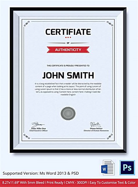 Certificate Of Authenticity Template Microsoft Word by Certificate Of Authenticity Template Microsoft Word Image