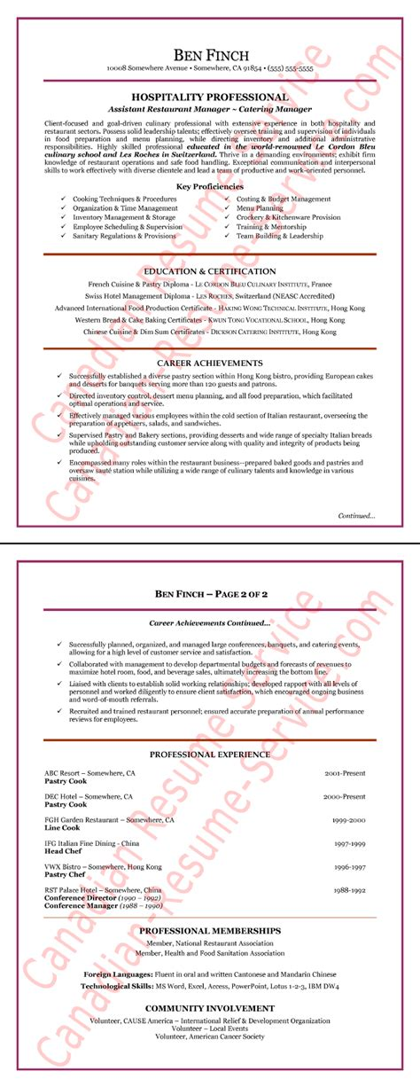 restaurant hospitality manager resume  sample