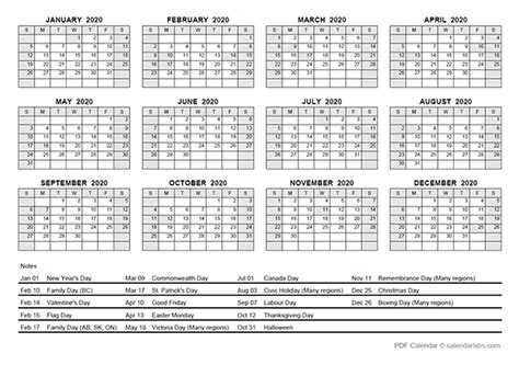 yearly calendar  canada holidays  printable