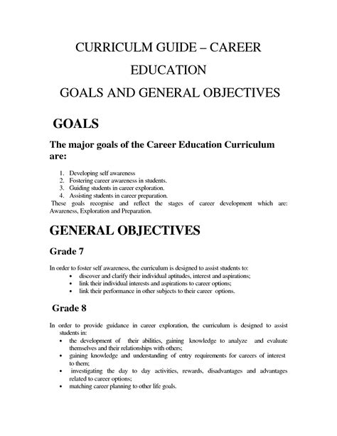 sle of career goals and objectives 28 images career