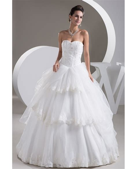 Lace Tiered Tulle Culottes ballgown organza sweetheart bridal dress with tiered lace
