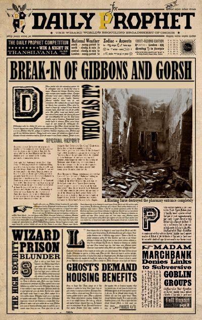 daily prophet break   gibbons gorsh harry potter