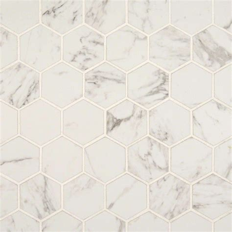 carrara 2 in x 2 in hexagon matte porcelain mosaic tile