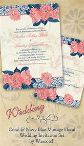 Coral and navy blue vintage rococo floral wedding for Royal blue and coral wedding invitations