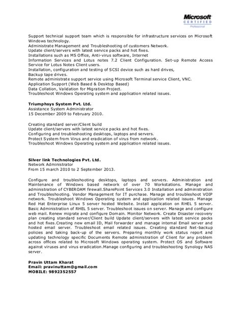 It Systems Administrator Resume by Network System Administrator Cv It Executive Resume