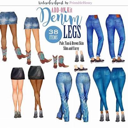Clipart Jeans Legs Denim Friends Watercolor Clip