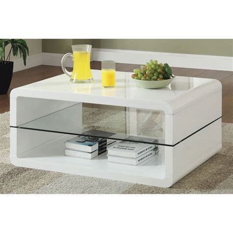 white glass coffee table glossy white contemporary clear temper glass sleek modern