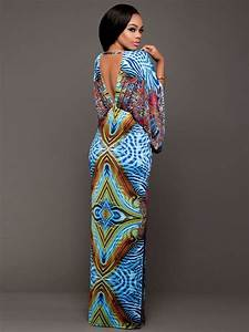 robe bohemien maxi col v manches larges mode africaine With robe wax moderne