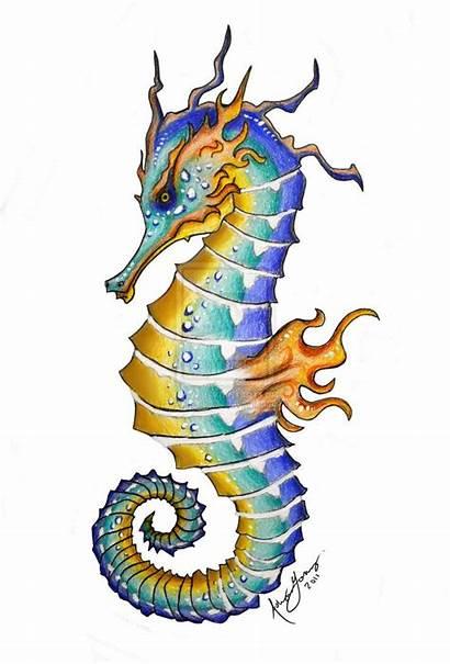Seahorse Seahorses King Drawing Deviantart Tattoo Sea