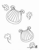Coloring Irish Harp Pages Patrick St Patricks Symbol Hellokids sketch template