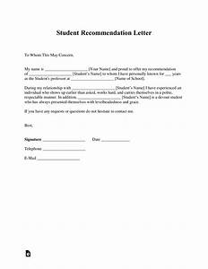 Free, Student, Recommendation, Letter, Template