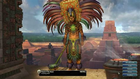 civilization  leader pacal   maya youtube