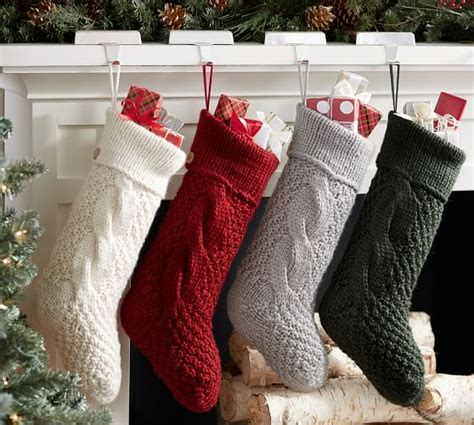 personalized chunky knit stockings pottery barn