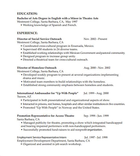 chronological resume format template chronological resume 9 sles exles format