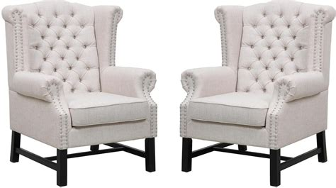 fairfield beige linen club chair set of 2 from tov tov