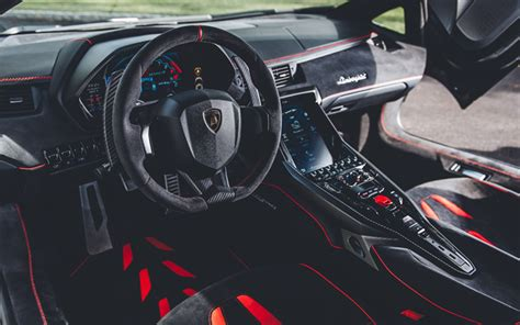 Download Wallpapers Lamborghini Centenario, Interior, 2018