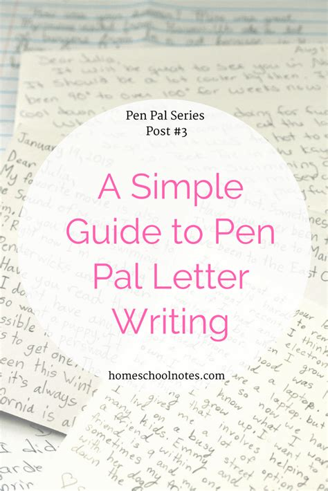 simple guide   pal letter writing homeschool notes