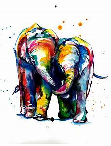 Colorful Elephants Holding Trunks Watercolor Painting Art