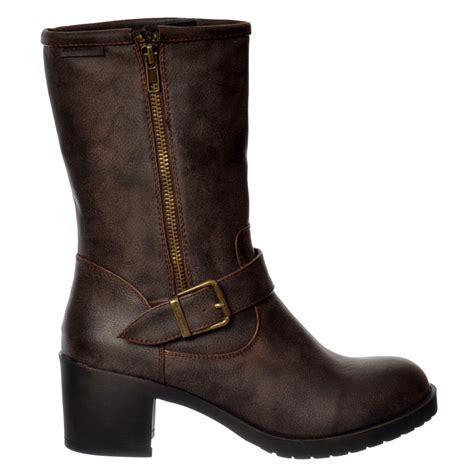 womens brown biker boots womens rocket dog hallie galaxy mid calf biker boots black