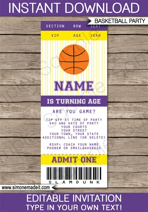 yellow  purple basketball party ticket invitation template