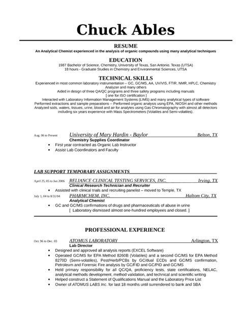 Analytical Skills Exle Resume by Tabular Analytical Chemist Resume Template