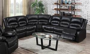 9171 reclining sectional sofa in black bonded leather w With black bonded leather sectional sofa with single recliner