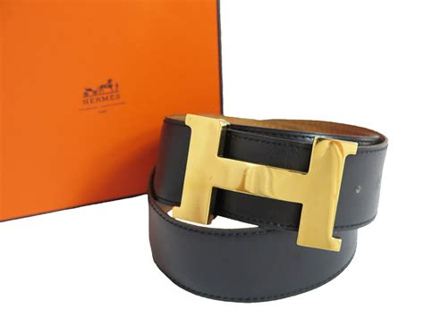 Hermes Hermes Belt H Logo Black X Gold Metal