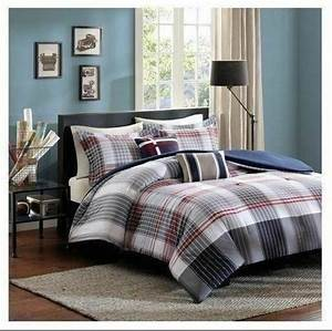 Taupe, Tan, Blue, Red, Plaid, Striped, 5, Pc, Comforter, Set, Twin, Xl, Full, Queen, Bedding