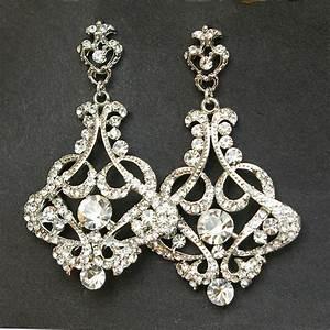 crystal chandelier bridal earrings vintage wedding earrings With wedding ring earrings