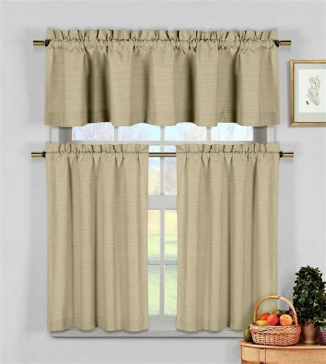 drapery sets taupe 3 pc kitchen window curtain set cotton