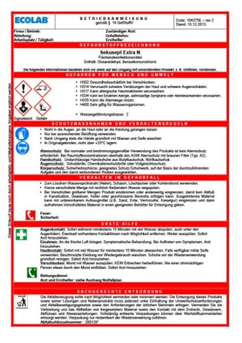ecolab healthcare  betriebsanweisungen