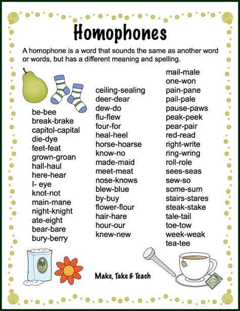 Teaching Homophones  Make Take & Teach